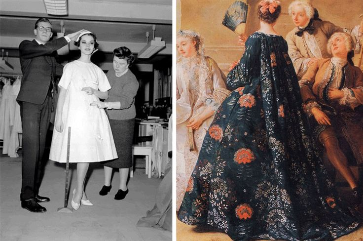 """Yves Saint Laurent fitting a dress for his first collection for Christian Dior under its direction and XVIII """"Watteau"""" dress"""