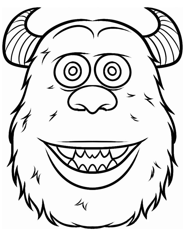 face james p sullivan coloring pages for kids printable monsters inc coloring pages for kids - Monsters Coloring Pages Sully