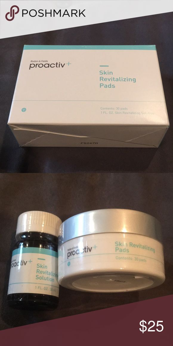 Proactiv+ skin revitalizing solution and pads Unopened box/containers of skin revitalizing system. I started using a different skin care line and can no longer use these. proactiv+ Other