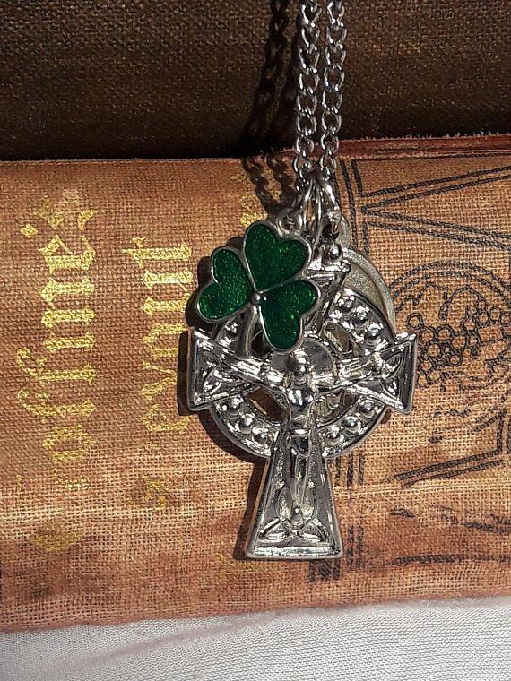 Vintage Irish Cross Crucifix, Necklace Amulet Lucky Shamrock Charm