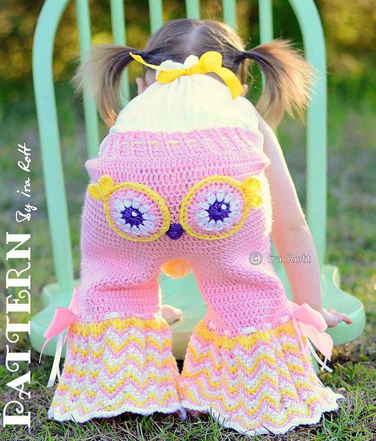 pantalones búho fiesta y volantes bloomer cortos crochet patrón pdf