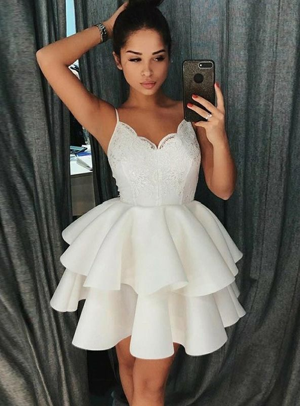 7c0d817ddce A-Line Spaghetti Straps White Short Appliques Homecoming Dress