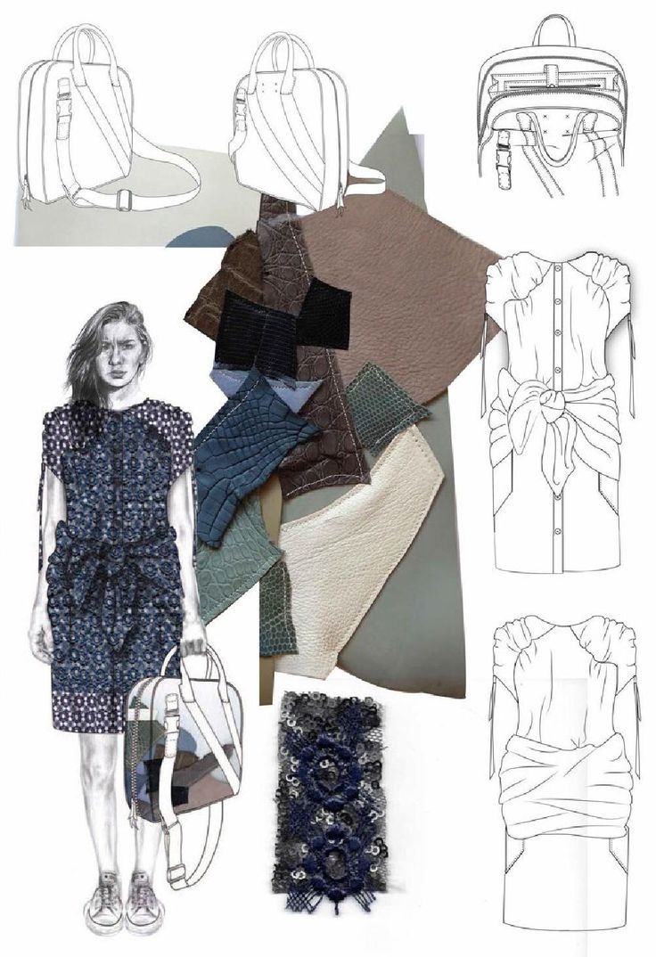 Fashion Sketchbook - fashion illustration & leather samples; fashion portfolio // Joanna Fisher