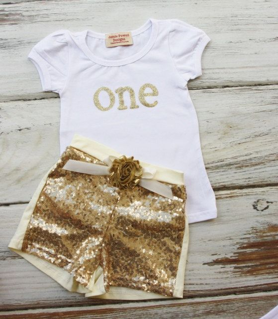 Gold Sequin Shorts with Gold Flower Birthday Outfit by jamiepowell