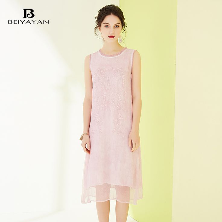 BEIYAYAN Cute Style Sleeveless Pink Dress 2017 Summer Solid Midi Dresses Daily Clothing