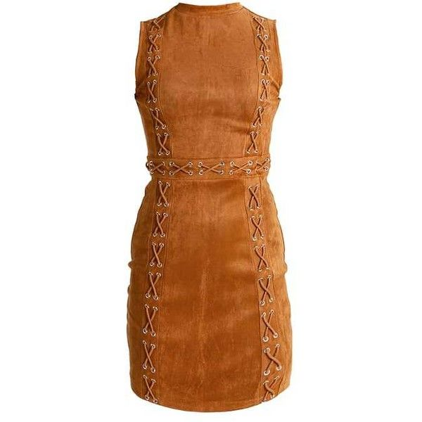 SLEEVELESS LACE UP DETAIL BODYCON Summer dress camel ($52) ❤ liked on Polyvore featuring dresses, laced dress, lace-up dresses, petite dresses, summer bodycon dress and summer day dresses