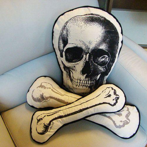 Skull and crossbones cushion