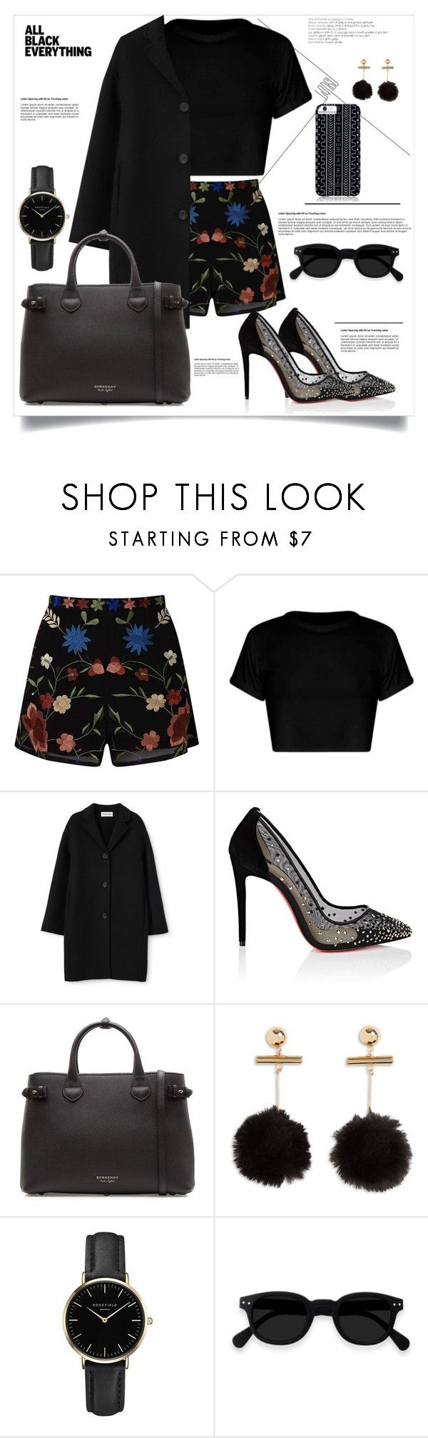 """black"" by ikamahardani ❤ liked on Polyvore featuring Miss Selfridge, Christian Louboutin, Burberry, ROSEFIELD, Savannah Hayes, contest and polyvorefashion"