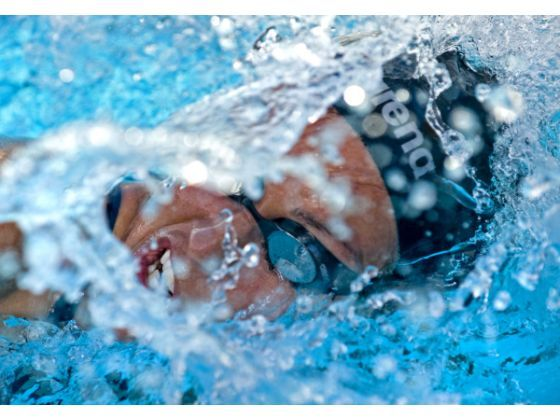 Olympic swimming medalist Janet Evans, 40, displaying the face of determination, goes through her workout at Golden West College. 2012 PHOTO BY MICHAEL GOULDING, THE ORANGE COUNTY REGISTER