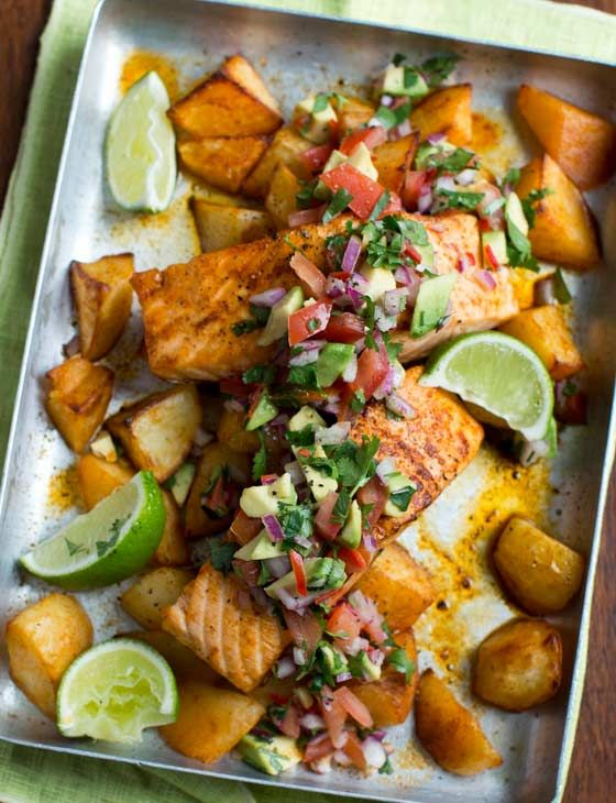 This traybake recipe combines succulent salmon, potatoes and punchy Mexican flavours. It's ready in just 35 minutes.