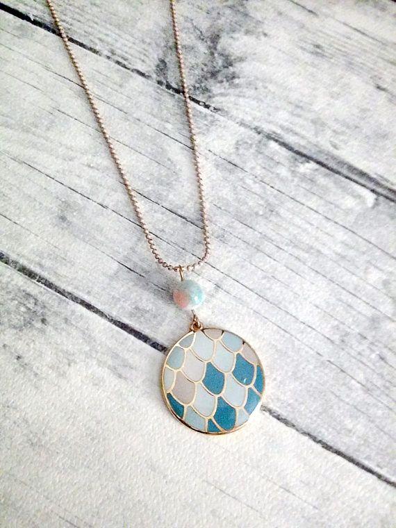 Round pendant necklace Enamel pendant Gold necklace Blue
