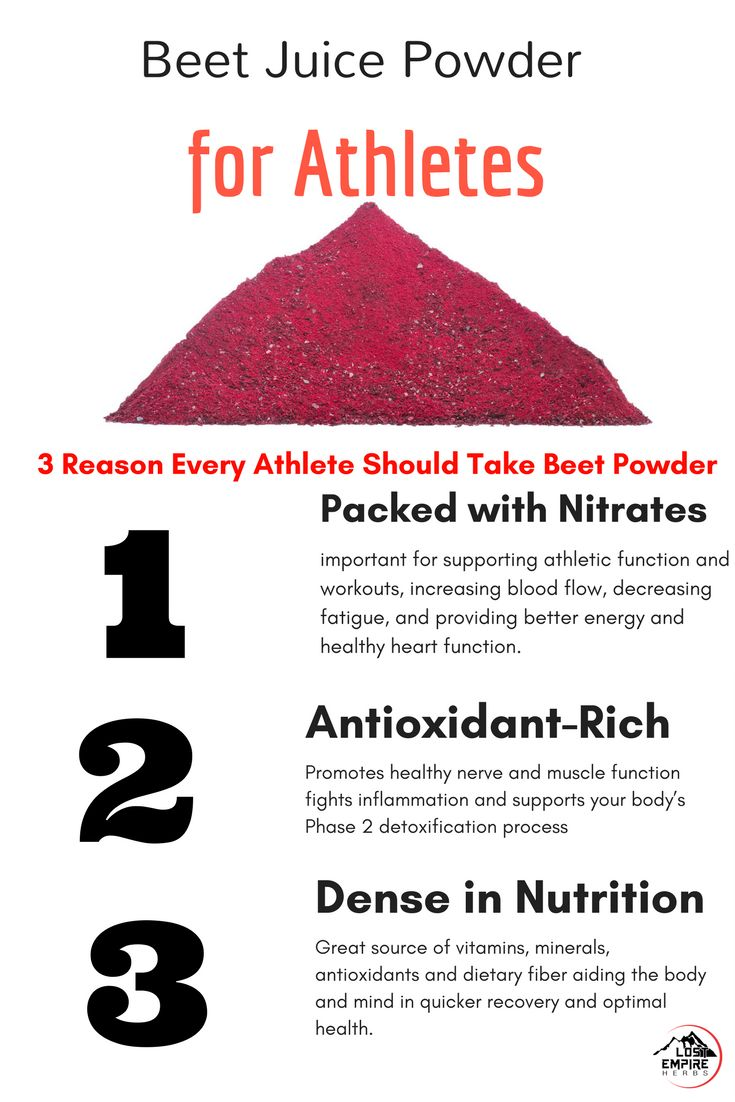 """Beet Juice Powder for Athletes:  While some studies have provided contradictory results, many have found positive benefits. A systemic review stated:  """"The available results suggest that supplementation with beetroot juice can improve cardiorespiratory endurance in athletes by increasing efficiency, which improves performance at various distances, increases time to exhaustion at submaximal intensities, and may improve the cardiorespiratory performance at anaerobic threshold intensities and…"""