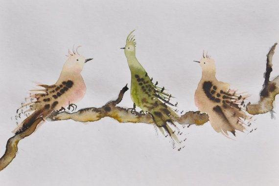Cousins - Simple fun birds together - Nursery art, Living Room Art, Original Watercolor Painting