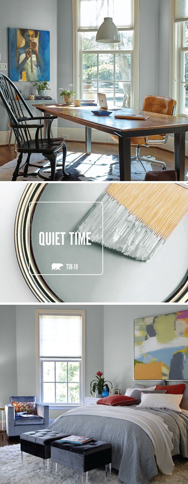 It should come as no surprise that the BEHR Color of the Month for January is Quiet Time. This neutral gray shade adds a peaceful and relaxing feel to your home after all the hustle and bustle of the holiday season. Try using bright accent colors like red, yellow, orange, and blue to add a modern twist to this classic paint color.