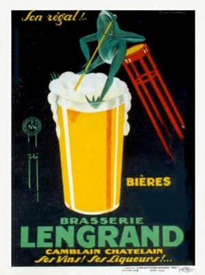 Artist: FHI   Circa: 1926  Origin: France     A nice cold beer to enjoy the last weekend of 2012! Come and visit us in store to find more vintage alcohol prints or buy online here:http://www.la-belle-epoque.com/vintage-poster/Wine—-Spirits/1141/BRASSERIE-LENGRAND