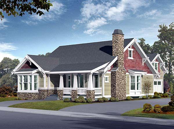 Elevation of Bungalow Craftsman House Plan 87523