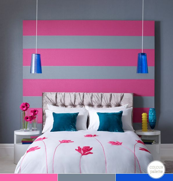Glitz wallpaper by Julian MacDonald for Graham and Brown: Pink Stripes, Headboards Ideas, Color Schemes, Bright Color, Glitz Wallpapers, Rooms Ideas, Bedrooms Headboards, Julien Macdonald, Girls Rooms