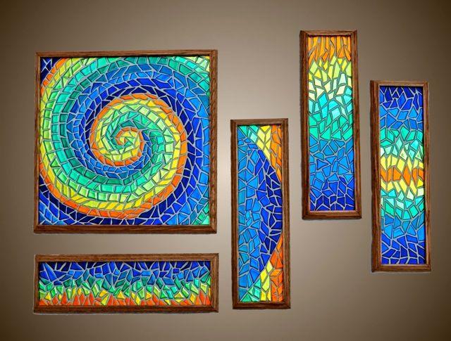 dichroic glass mosaic wall art