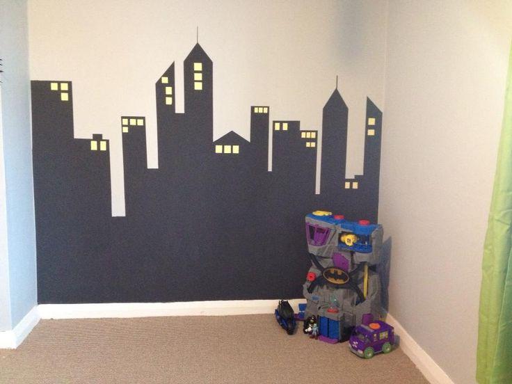 Superhero bedroom skyline for sons room I did