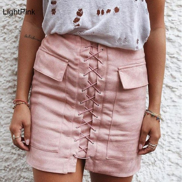Womens Autumn Lace-up Pencil Skirt
