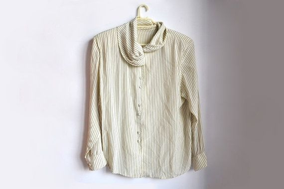 Women's striped button up blouse with shoulder pads. #vintage