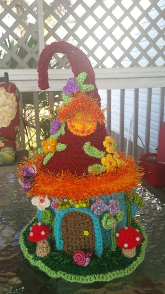 Fairy or Gnome Fantasy House Handmade Crochet OOAK by emcrafts