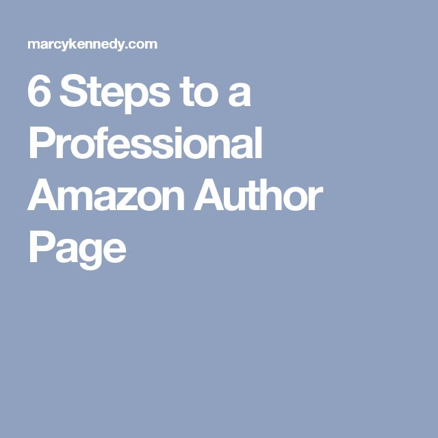 6 Steps to a Professional Amazon Author Page