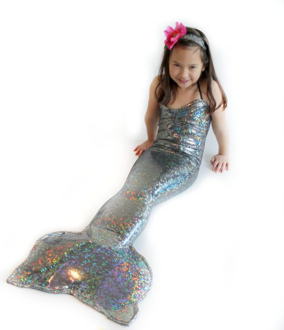 Silver OnePiece Mermaid Tail For Girls by ApplejackApparel on Etsy, $64.99