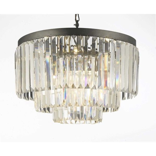 Gallery Odeon Crystal Glass Fringe 3-tier Chandelier