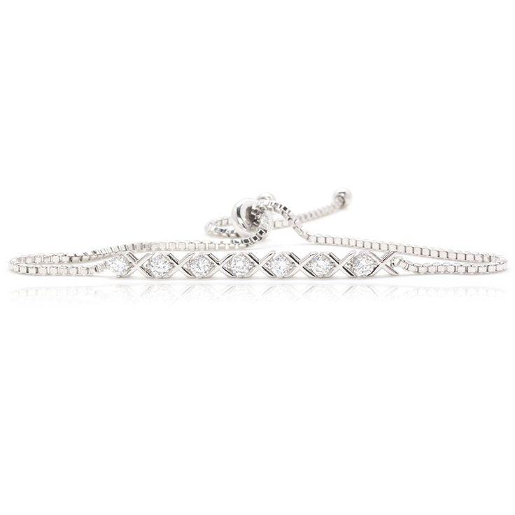 Amazon.com: XOXO Linked Bracelet 7 Round Cubic Zirconia Silver Plated Box Chain: Jewelry