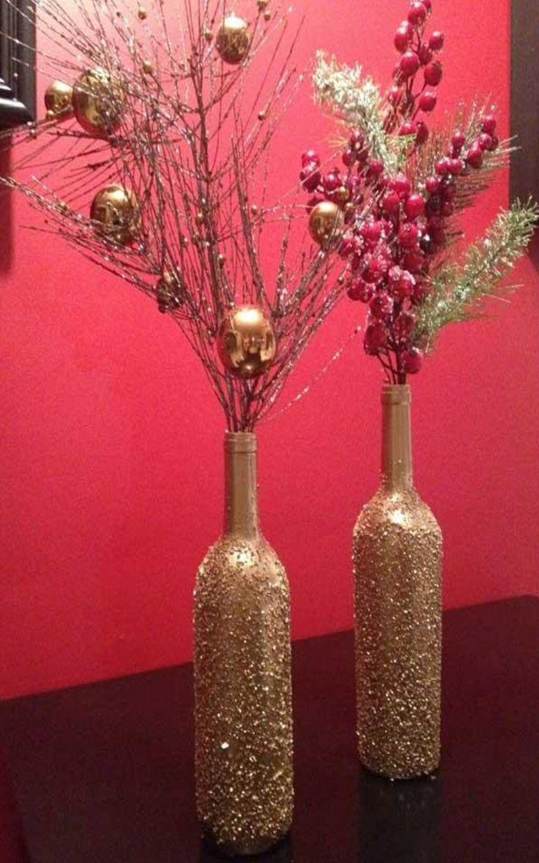Epsom salt/gold spray paint DIY Christmas wine bottle craft.