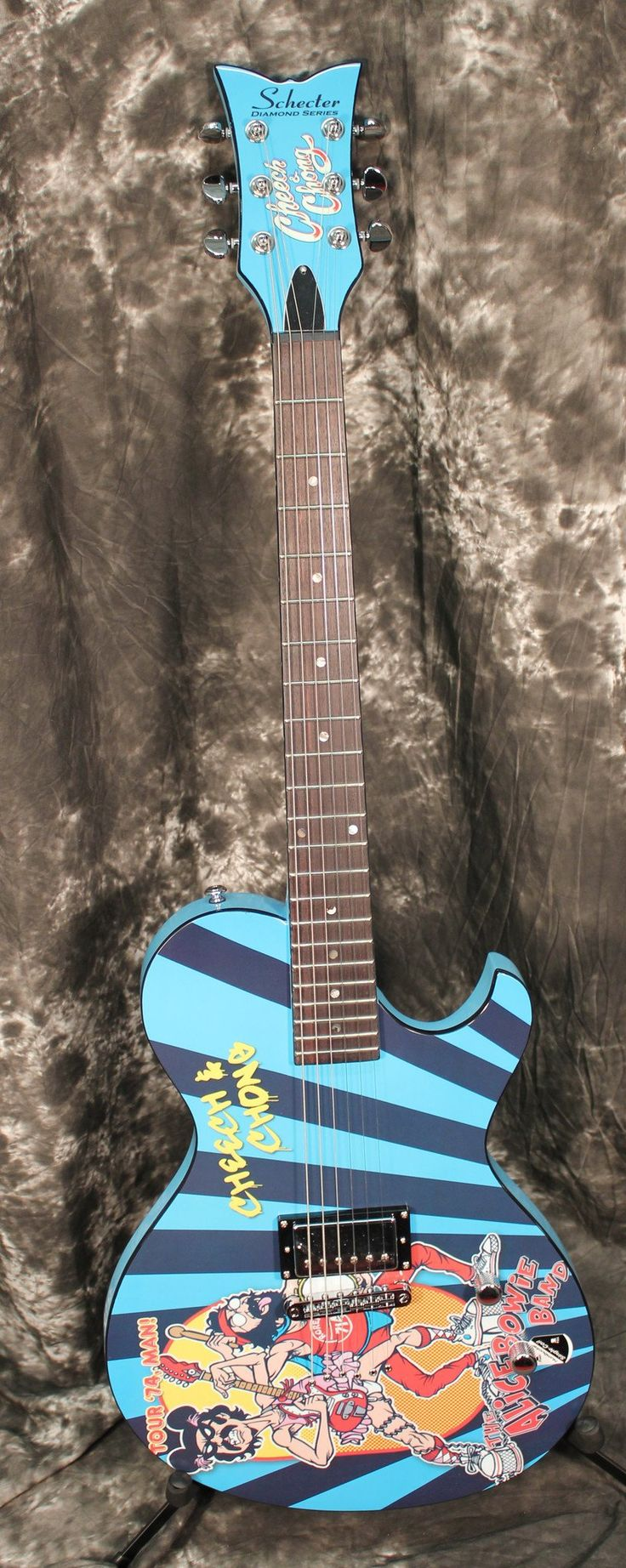 Schecter Solo 6 Cheech And Chong Signature Alice Bowie Graphic W Gloss Light Blue