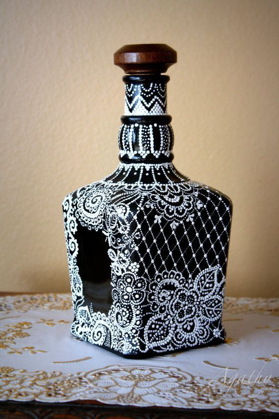 Hand decorated bottle. by ArtyAgathy on Etsy Candle holders | Hand painted…