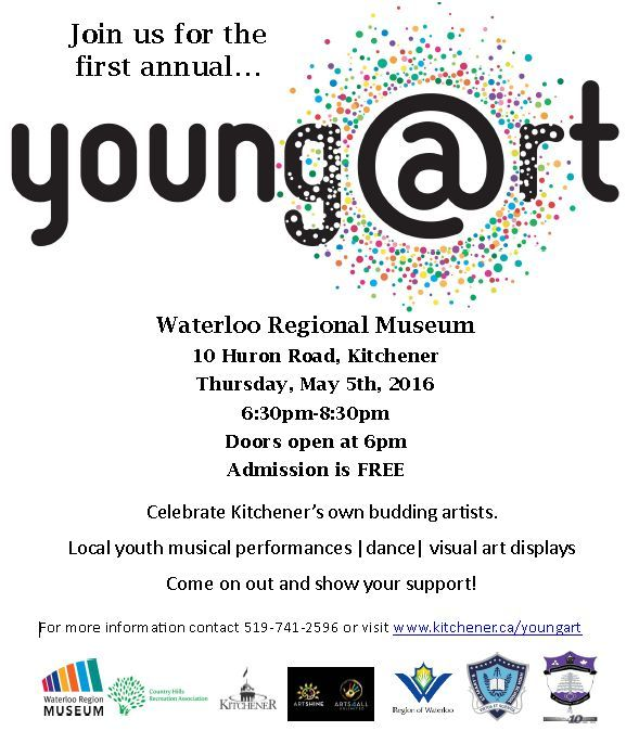 Artshine-Arts4all will be at young@rt happening May 5, 2016 at the Waterloo Region Museum (10 Huron Rd, Kitchener-DOON area). Doors open at 6pm, program runs from 6:30 to 8:30 p.m. This is a ‪#‎FREE‬ event! Come by our ‪#‎Graffiti‬ ‪#‎art‬ booth and introduce yourself. We'd love to meet you! For more information please visit http://kitchener.ca/youngart ‪#‎youth‬ ‪#‎youthweek‬ ‪#‎artist‬