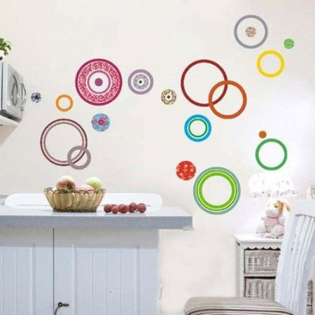 Wall Decals - YYone Colorful Circle Contemporary Wall Decals Sticker Home Decor