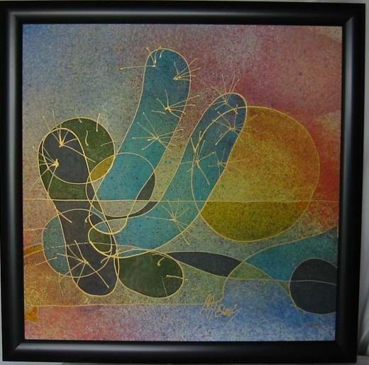 Cactus 2002 64x64, drawing on silk, artist Marta Holásková.
