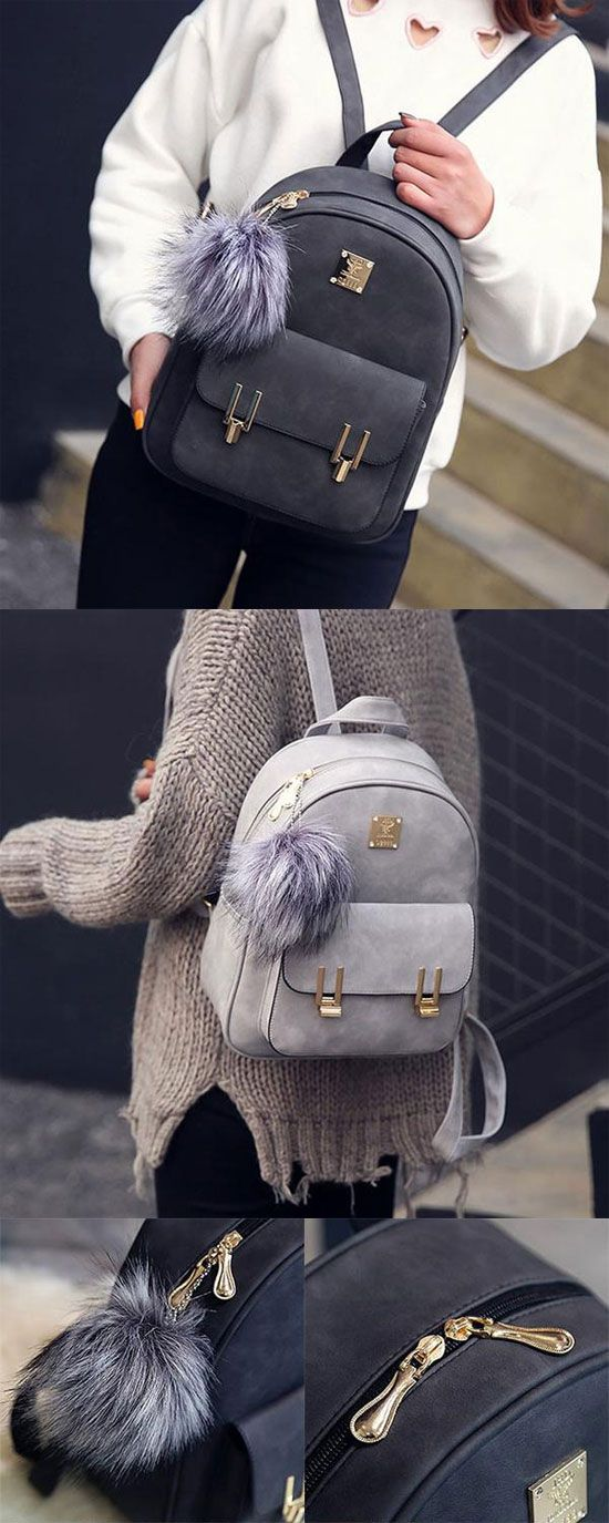Fashion Frosted PU Zippered School Bag With Metal Lock Match Backpack for big sale ! #lock #match #backpack #bag #school #college #metal #student