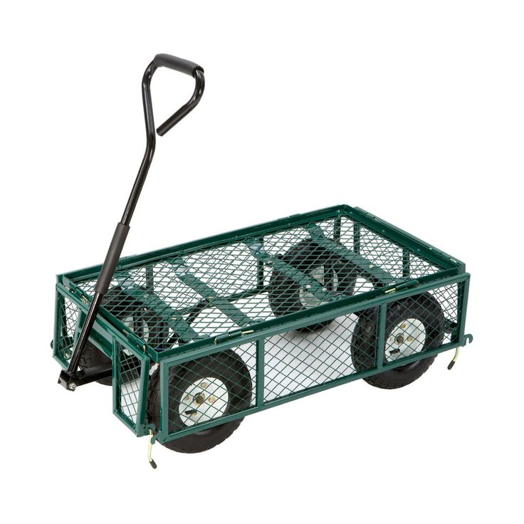 Farm And Ranch Steel Utility Garden Cart With Folding Sides 400lb Capacity  34in