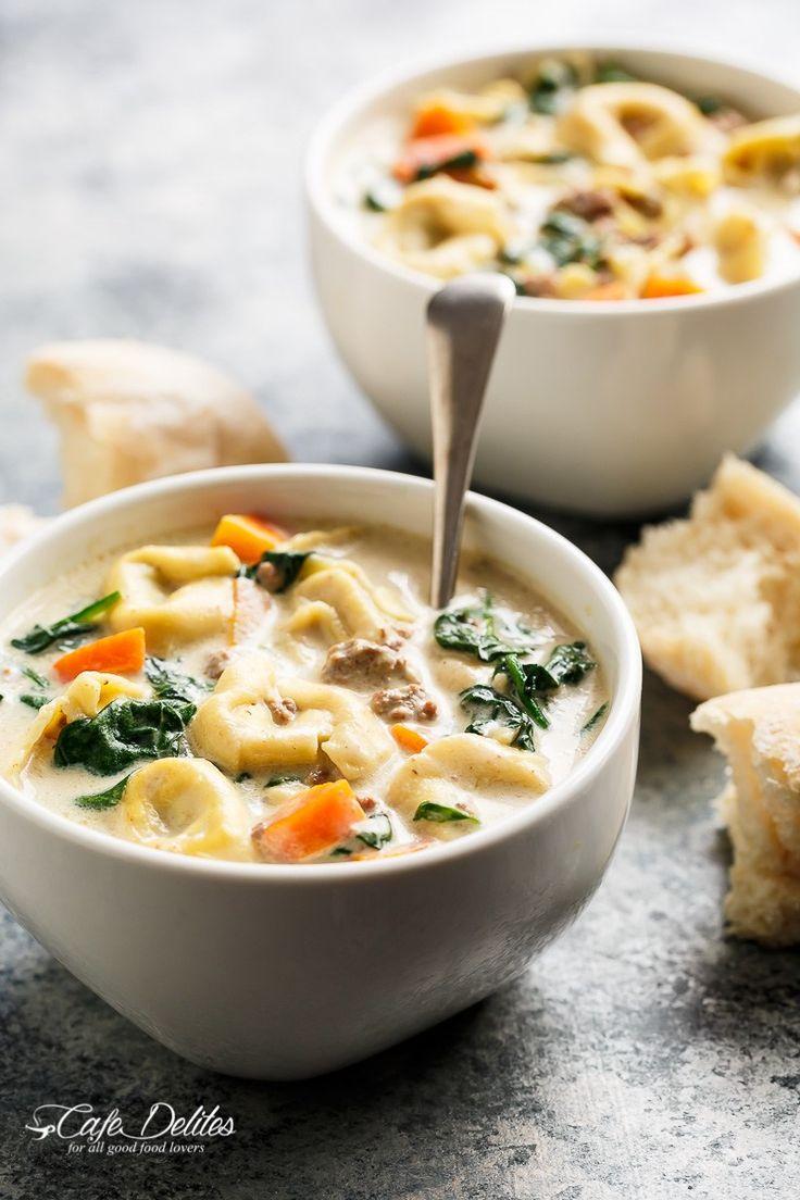 Slow Cooker Creamy Tortellini Soup   http://cafedelites.com