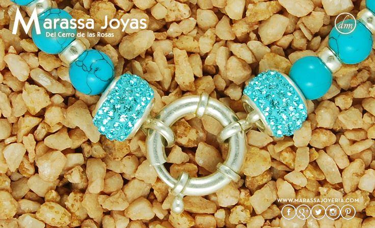 Collar Turquesa, Plata 900 y Tomas con Cristales Swarovski $1890