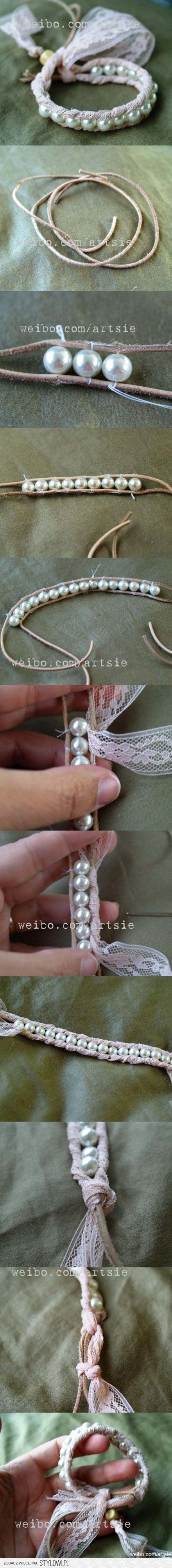 Pretty bracelet. Should repurpose my pearls from another bracelet: it's broken, but I have the beads.