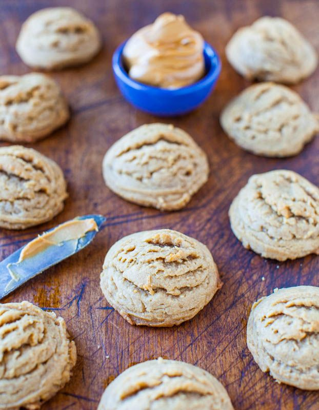 Soft & Puffy Peanut Butter Coconut Oil Cookies - Soft, light, puffy, & very peanut buttery. NO Butter & NO White Sugar used