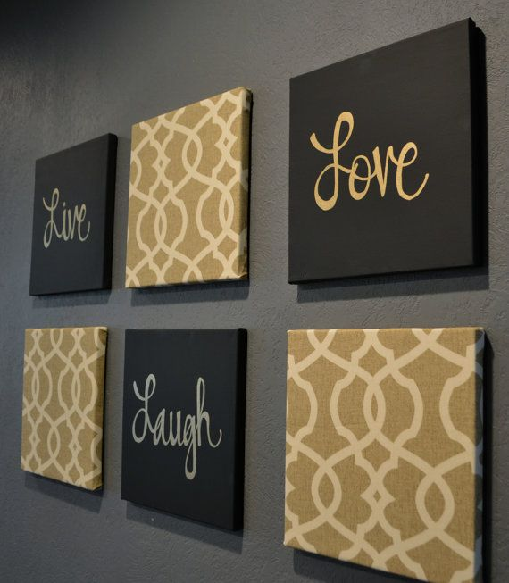 Live laugh love wall art pack of 6 canvas wall by for Cuadros espejos decoracion