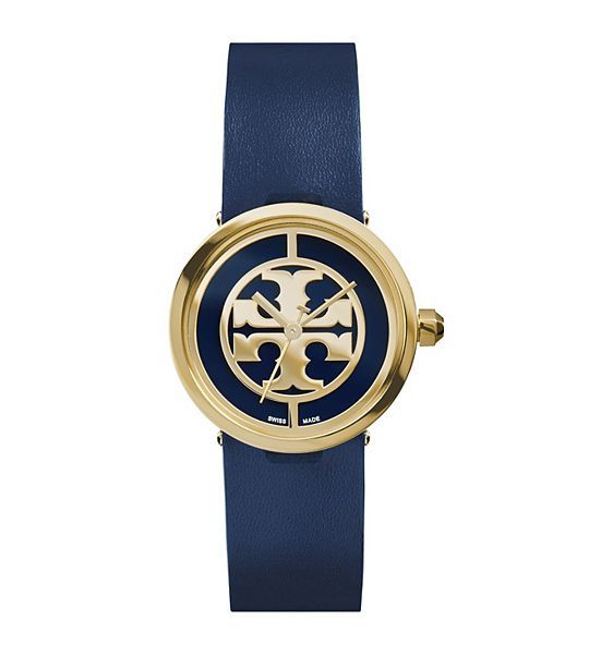 Tory Burch Watch... yes please!Navy Leather/Gold-Tone, 28 mm - N/A #toryburch #watch