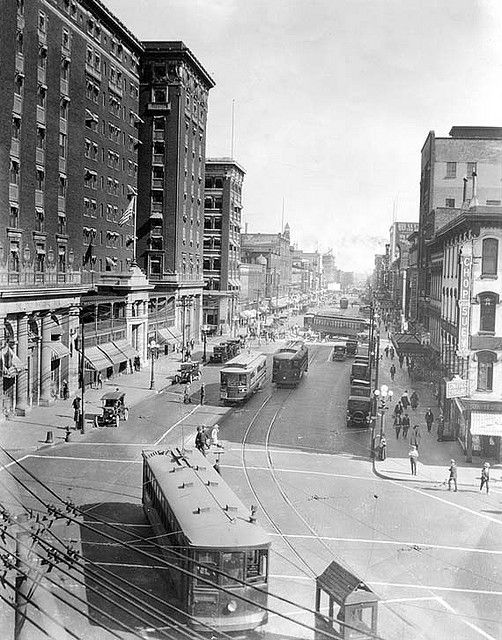 Pantlind Hotel (left), now the Amway Grand Plaza Hotel, in Grand Rapids, MI, 1920's