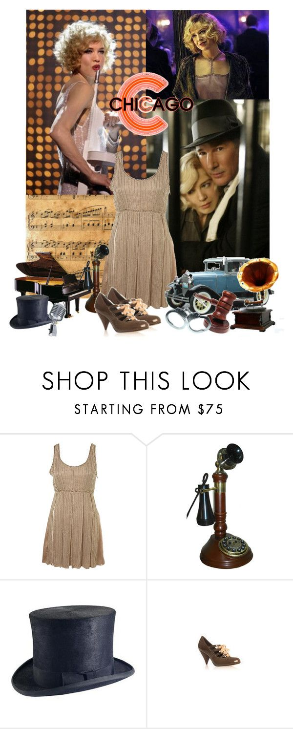 """""""Roxie Hart (9/50 Chicago)"""" by kathryn368 ❤ liked on Polyvore featuring CO, GAVEL, POLICE, Retrò, KG Kurt Geiger, 1920s, renee zellweger, dress, chicago and heels"""