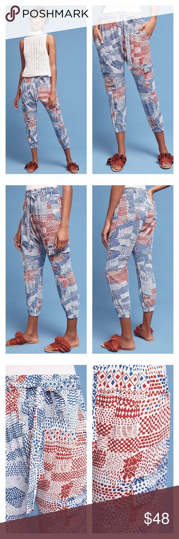 """NWT Anthropologie Harem-Style Joggers Loosely defined cargo joggers crafted from super-soft materials in a printed design. These are amazing!!! All the fabulous reviews say it all 🤗 By Hei Hei. ⚡️Viscose ⚡️Drop rise ⚡️Front slant, back patch pockets ⚡️Pull-on styling ⚡️Hand wash ⚡️24"""" inseam Anthropologie Pants Track Pants & Joggers"""