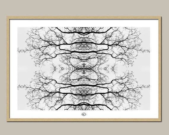 Mirrored Branches 36x24F by MillyLillyArtistry on Etsy