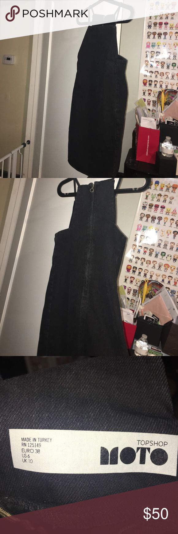 New Topshop Denim Moto Pinafore dress for sale. Brand new without tag Topshop Denim Moto Pinafore dress for sale. Color is washed black. Size is 6 but runs small so fits sizes 2-4. Topshop Dresses
