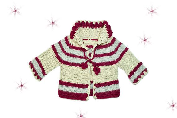 A Unisex Baby Knitted Cardigan by miCalorKnits on Etsy